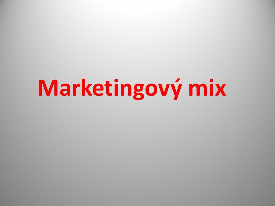 - čtyři nástroje pro marketingové činnosti Označení jako 4P Výrobek (Product) Cena (Price) Propagace (Promotion Distribuce (Place) Někdy se rozšiřují o obal (Pack) a lidi (People)