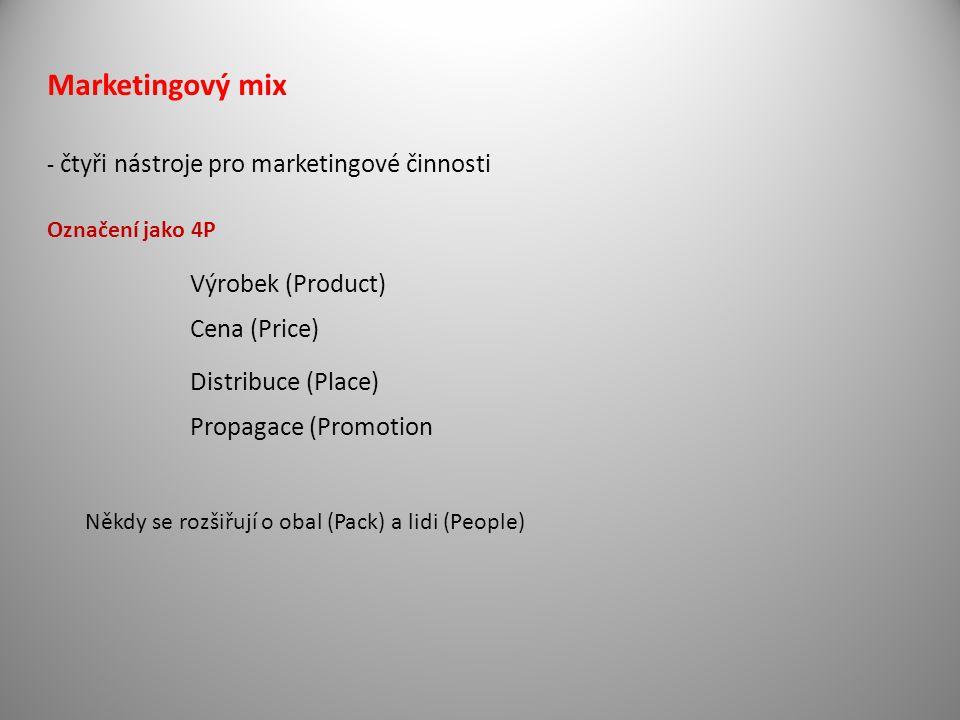 - čtyři nástroje pro marketingové činnosti Označení jako 4P Výrobek (Product) Cena (Price) Propagace (Promotion Distribuce (Place) Někdy se rozšiřují