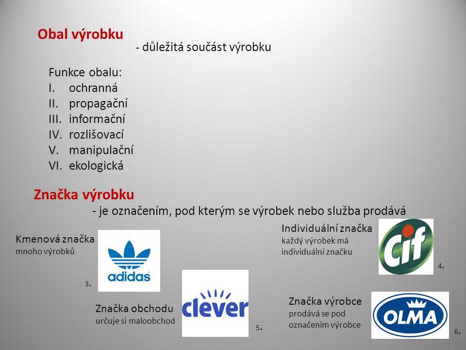 Obal výrobku - důležitá součást výrobku Funkce obalu: I.ochranná II.propagační III.informační IV.rozlišovací V.manipulační VI.ekologická Značka výrobk