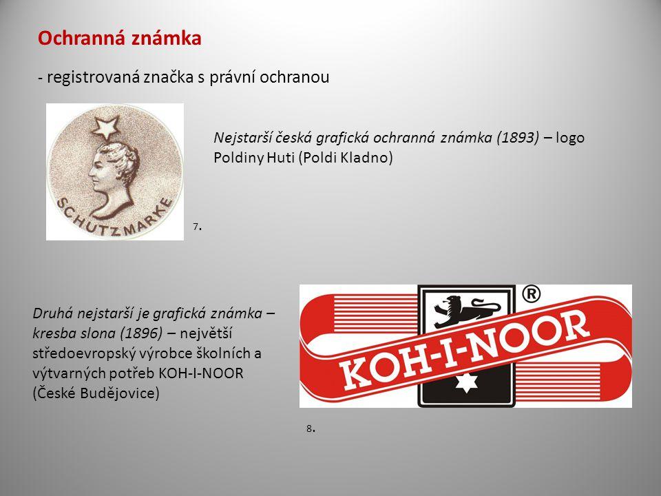 Ochranná známka - registrovaná značka s právní ochranou Nejstarší česká grafická ochranná známka (1893) – logo Poldiny Huti (Poldi Kladno) Druhá nejst