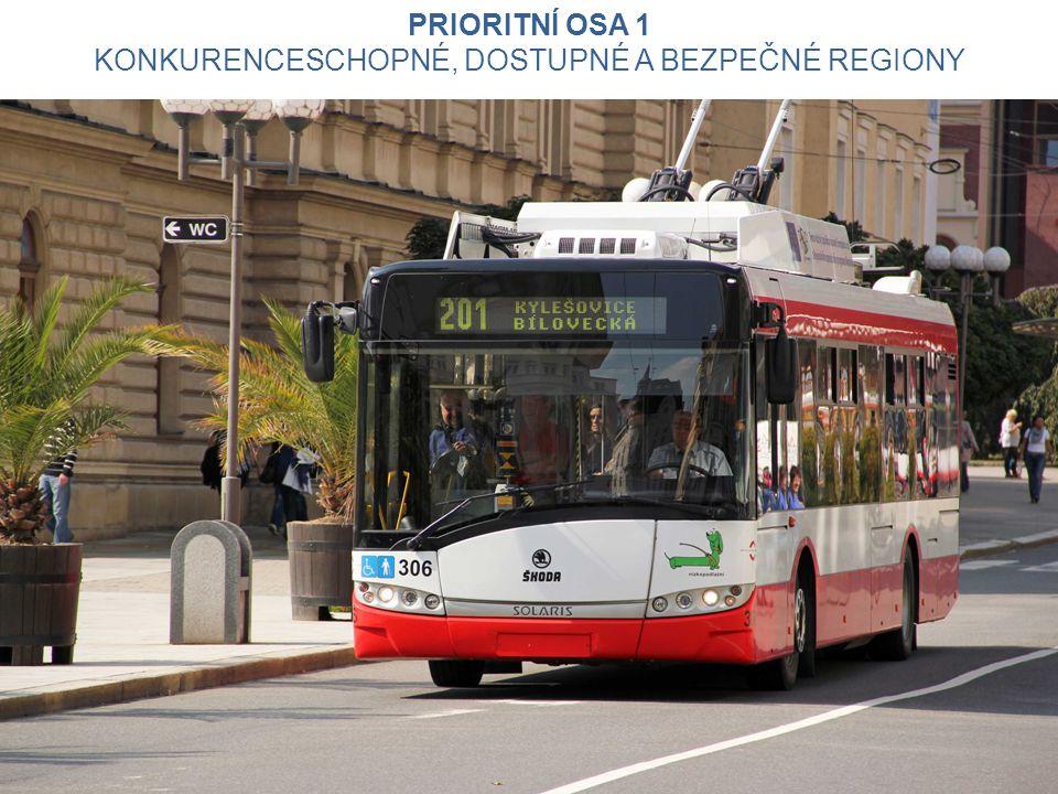 Udržitelná doprava - alokace 472 531 476 EUR (10,2 % z IROP) podpora veřejné dopravy a multimodality (přestupní terminály pro veřejnou dopravu, P+R, K+R, B+R) aplikace moderních technologií v dopravě (telematika, informační a platební systémy) zmírnění negativních dopadů v dopravě, např.