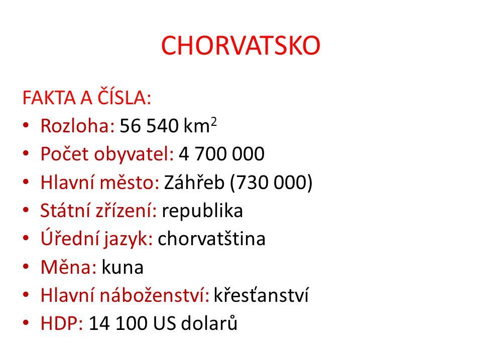 CHORVATSKO FAKTA A ČÍSLA: Rozloha: 56 540 km 2 Počet obyvatel: 4 700 000 Hlavní město: Záhřeb (730 000) Státní zřízení: republika Úřední jazyk: chorva