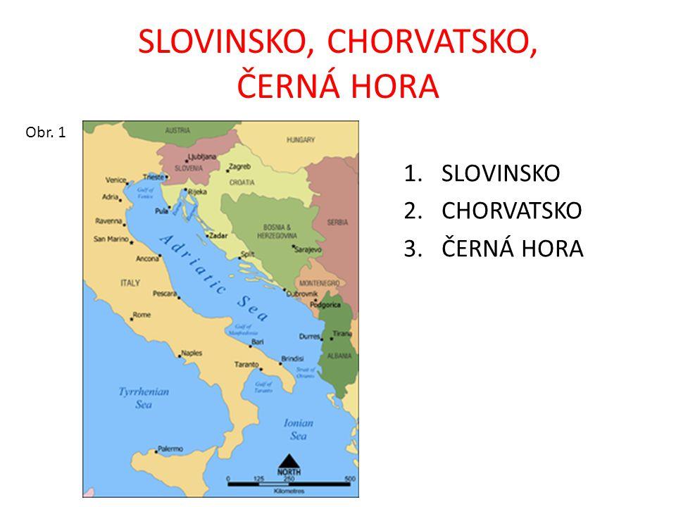 KRAJINA SLOVINSKA, CHORVATSKA, ČERNÉ HORY STÁTY: Slovinsko, Chorvatsko – vznikly rozpadem Jugoslávie v roce 1991, Černá Hora se osamostatnila od Srbska v roce 2006 MOŘE: Jaderské OSTROVY: Dalmatské – Krk, Rab, Pag, Cres, Brač, Hvar, Korčula POLOOSTROV: Balkánský, Istrijský POVRCH: Dinárské hory, Alpy ŘEKY: Dunaj, Dráva, Sáva JEZERA: Plitvická, Bled, Skadarské