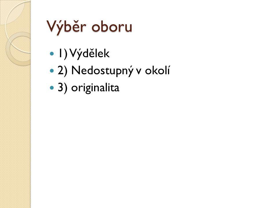 Výběr oboru 1) Výdělek 2) Nedostupný v okolí 3) originalita