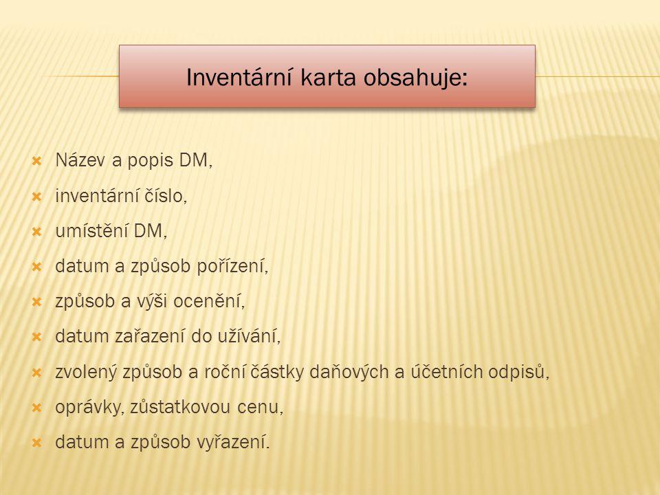  Název a popis DM,  inventární číslo,  umístění DM,  datum a způsob pořízení,  způsob a výši ocenění,  datum zařazení do užívání,  zvolený způs