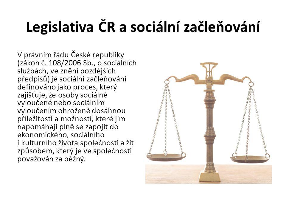 Legislativa ČR a sociální začleňování V právním řádu České republiky (zákon č. 108/2006 Sb., o sociálních službách, ve znění pozdějších předpisů) je s