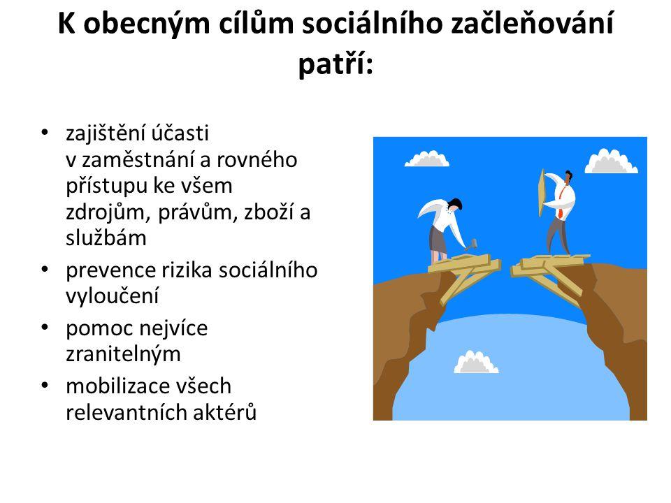 K obecným cílům sociálního začleňování patří: zajištění účasti v zaměstnání a rovného přístupu ke všem zdrojům, právům, zboží a službám prevence rizik