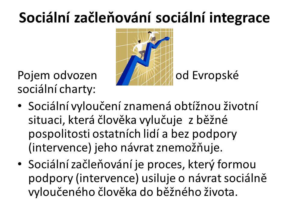 Pojem odvozen od Evropské sociální charty: Sociální vyloučení znamená obtížnou životní situaci, která člověka vylučuje z běžné pospolitosti ostatních