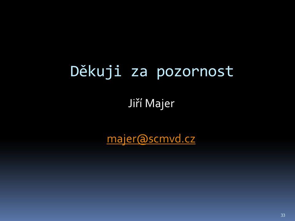 Děkuji za pozornost Jiří Majer majer@scmvd.cz 33