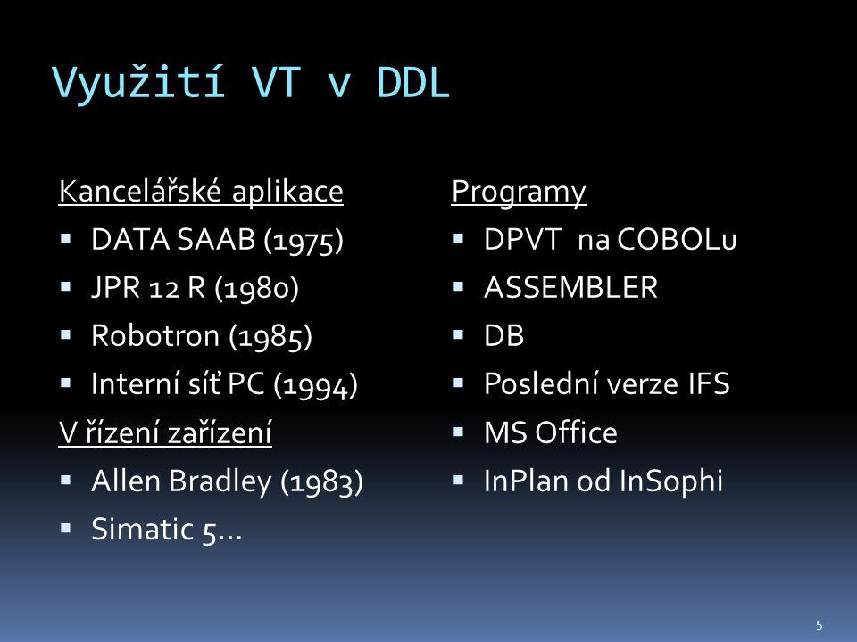 Využití VT v DDL Kancelářské aplikace  DATA SAAB (1975)  JPR 12 R (1980)  Robotron (1985)  Interní síť PC (1994) V řízení zařízení  Allen Bradley (1983)  Simatic 5… Programy  DPVT na COBOLu  ASSEMBLER  DB  Poslední verze IFS  MS Office  InPlan od InSophi 5