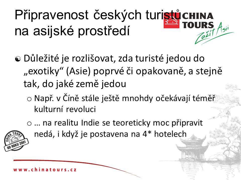 """Připravenost českých turistů na asijské prostředí  Důležité je rozlišovat, zda turisté jedou do """"exotiky (Asie) poprvé či opakovaně, a stejně tak, do jaké země jedou o Např."""