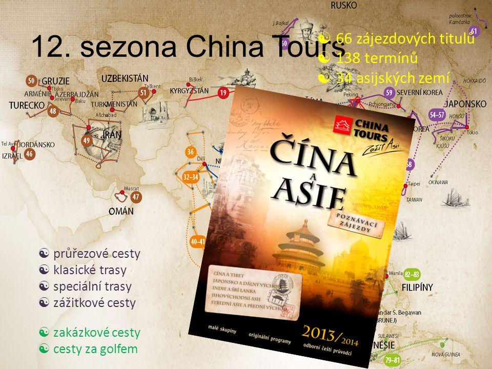12. sezona China Tours  66 zájezdových titulů  138 termínů  34 asijských zemí  průřezové cesty  klasické trasy  speciální trasy  zážitkové cest