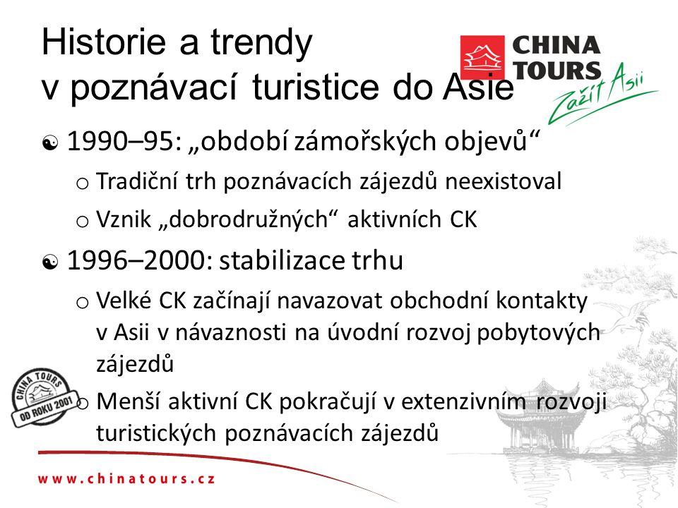"""Historie a trendy v poznávací turistice do Asie  1990–95: """"období zámořských objevů o Tradiční trh poznávacích zájezdů neexistoval o Vznik """"dobrodružných aktivních CK  1996–2000: stabilizace trhu o Velké CK začínají navazovat obchodní kontakty v Asii v návaznosti na úvodní rozvoj pobytových zájezdů o Menší aktivní CK pokračují v extenzivním rozvoji turistických poznávacích zájezdů"""