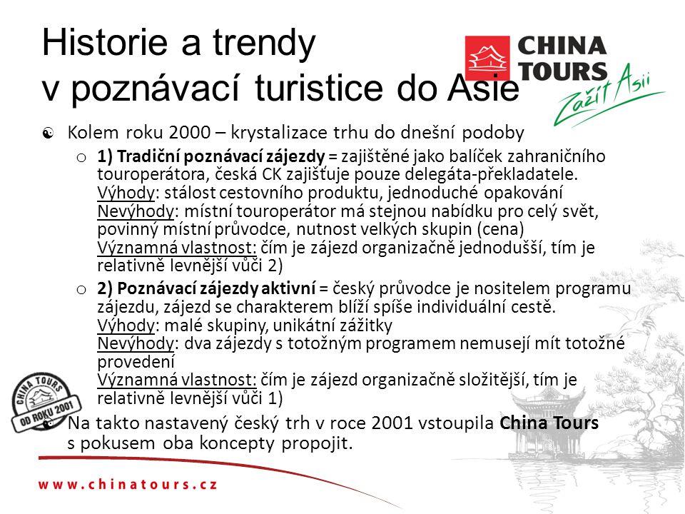 Historie a trendy v poznávací turistice do Asie  Kolem roku 2000 – krystalizace trhu do dnešní podoby o 1) Tradiční poznávací zájezdy = zajištěné jako balíček zahraničního touroperátora, česká CK zajišťuje pouze delegáta-překladatele.