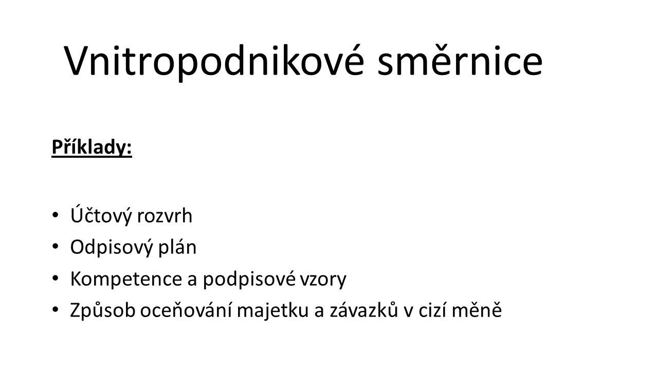 Účtový rozvrh Odpisový plán Kompetence a podpisové vzory Způsob oceňování majetku a závazků v cizí měně Vnitropodnikové směrnice Příklady: