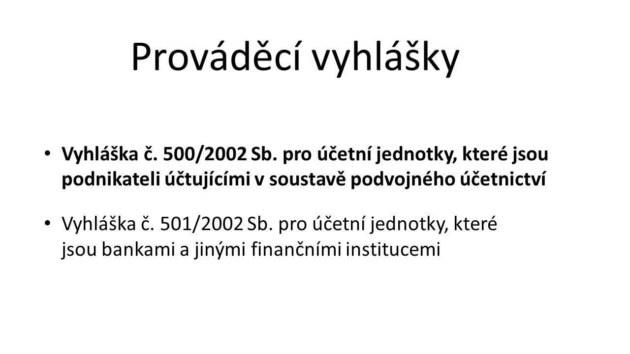Vyhláška č. 500/2002 Sb. pro účetní jednotky, které jsou podnikateli účtujícími v soustavě podvojného účetnictví Vyhláška č. 501/2002 Sb. pro účetní j
