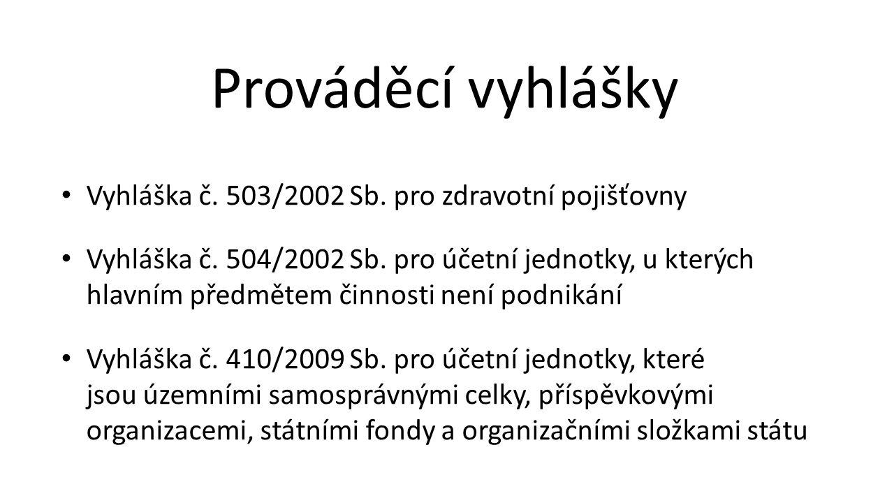 Vyhláška č. 503/2002 Sb. pro zdravotní pojišťovny Vyhláška č. 504/2002 Sb. pro účetní jednotky, u kterých hlavním předmětem činnosti není podnikání Vy