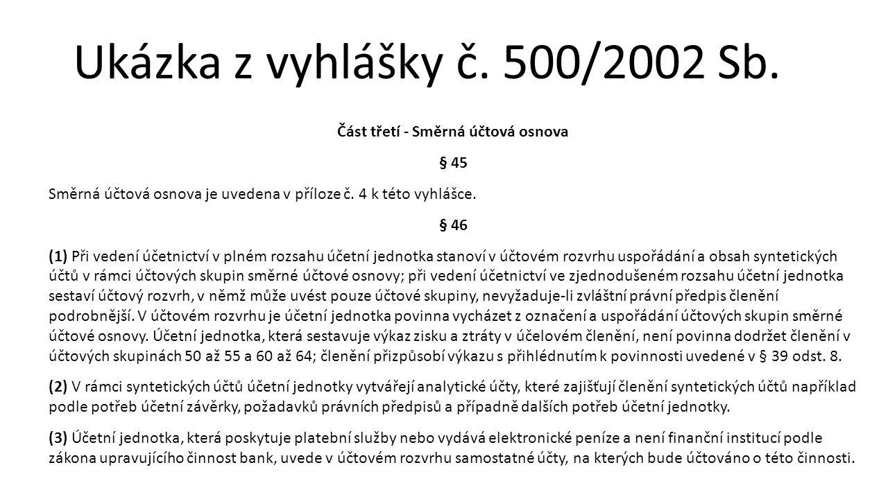 Ukázka z vyhlášky č. 500/2002 Sb. Část třetí - Směrná účtová osnova § 45 Směrná účtová osnova je uvedena v příloze č. 4 k této vyhlášce. § 46 (1) Při