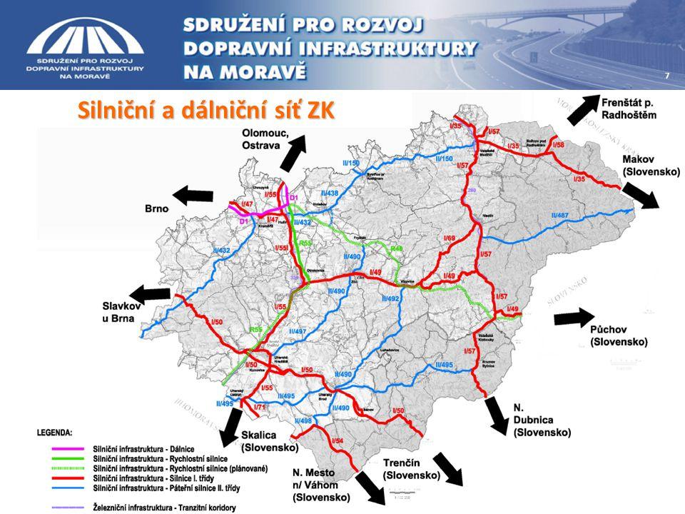 Silniční a dálniční síť ZK 7