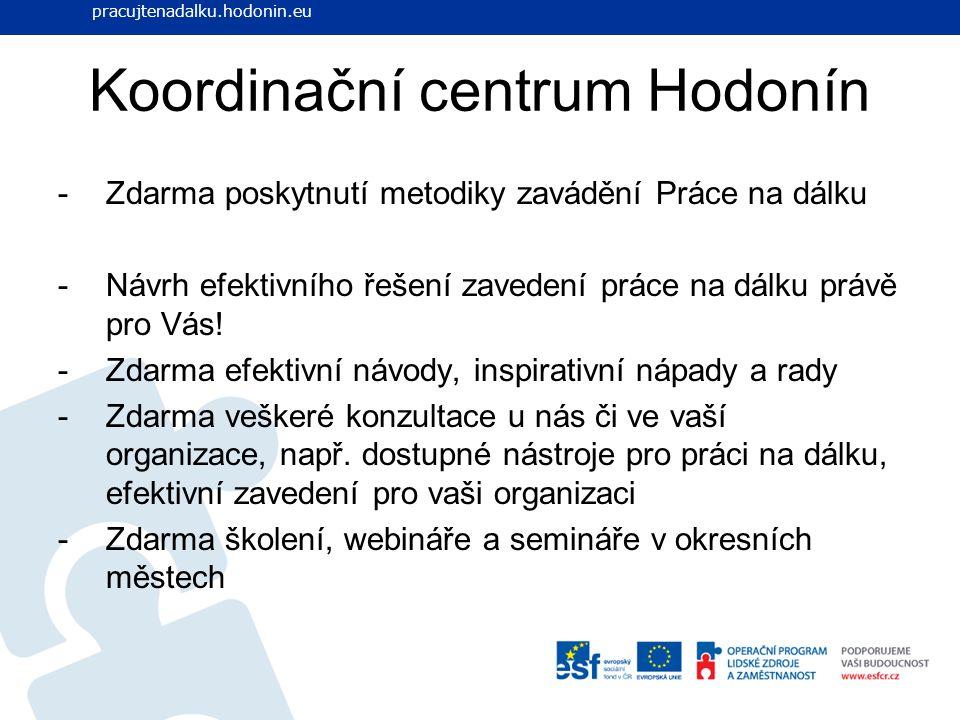 Koordinační centrum Hodonín -Zdarma poskytnutí metodiky zavádění Práce na dálku -Návrh efektivního řešení zavedení práce na dálku právě pro Vás! -Zdar