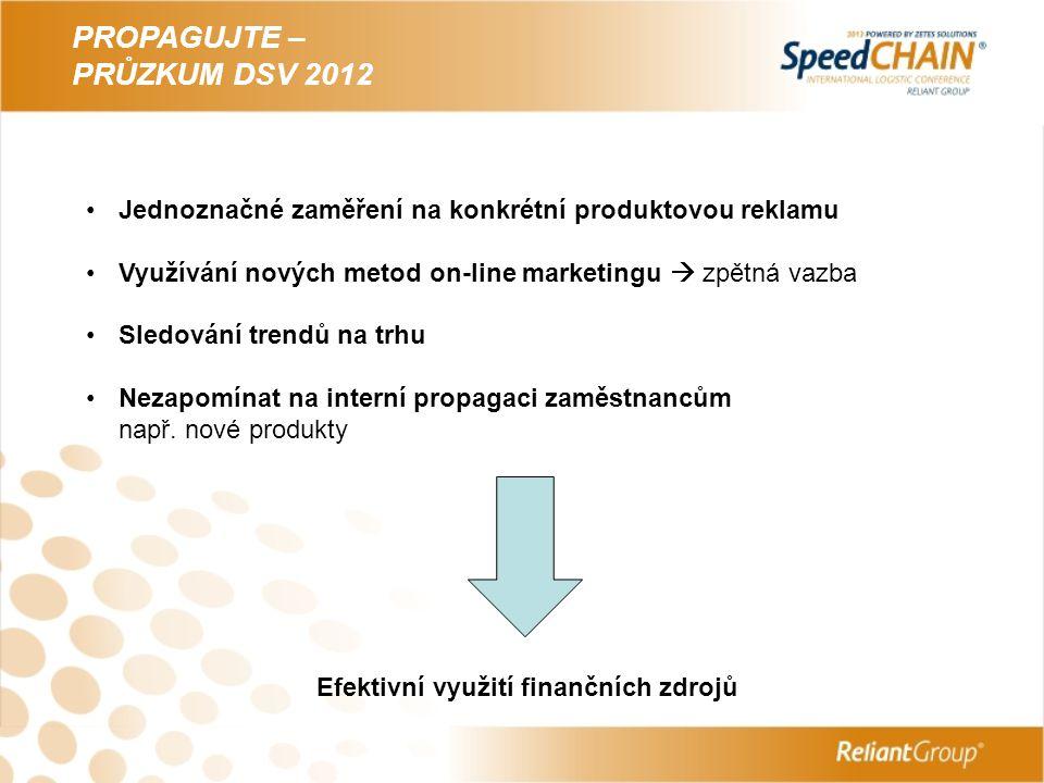 PROPAGUJTE – PRŮZKUM DSV 2012 Jednoznačné zaměření na konkrétní produktovou reklamu Využívání nových metod on-line marketingu  zpětná vazba Sledování trendů na trhu Nezapomínat na interní propagaci zaměstnancům např.