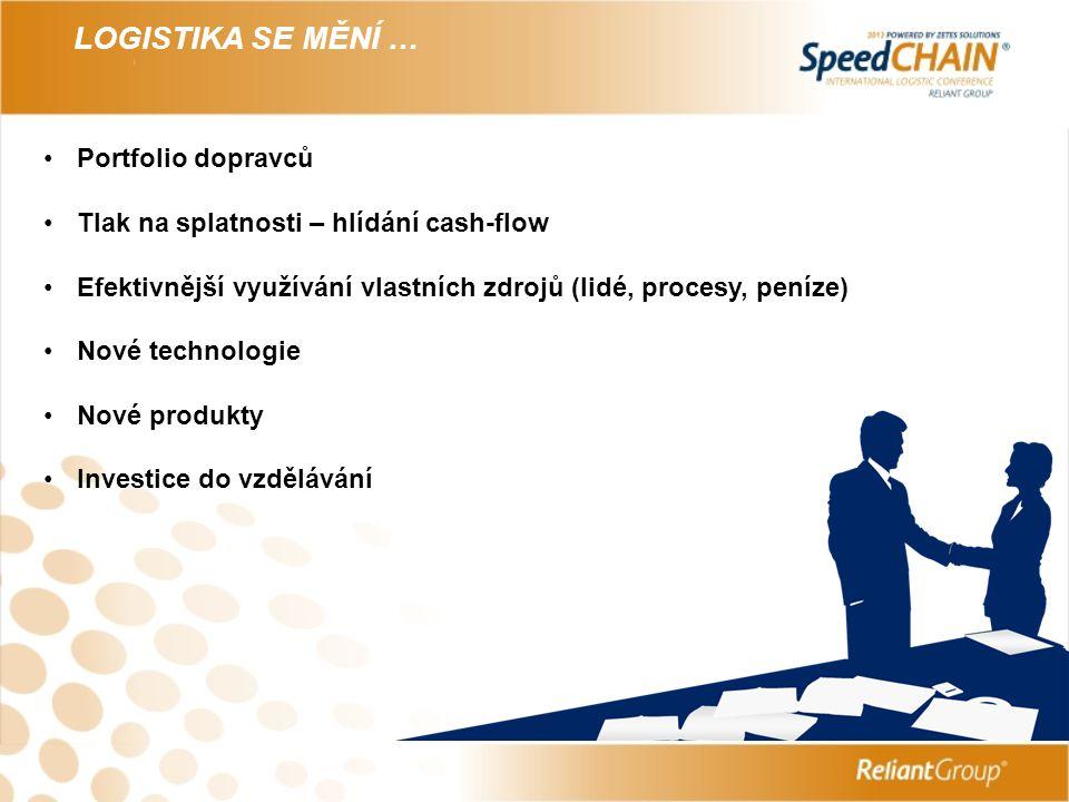 LOGISTIKA SE MĚNÍ … Portfolio dopravců Tlak na splatnosti – hlídání cash-flow Efektivnější využívání vlastních zdrojů (lidé, procesy, peníze) Nové technologie Nové produkty Investice do vzdělávání