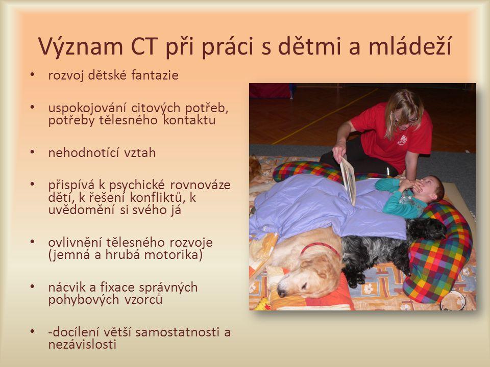 Význam CT při práci s dětmi a mládeží rozvoj dětské fantazie uspokojování citových potřeb, potřeby tělesného kontaktu nehodnotící vztah přispívá k psy