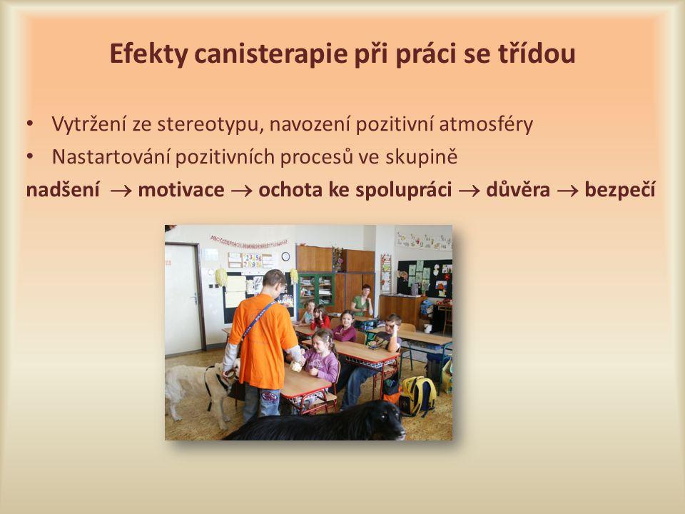 Efekty canisterapie při práci se třídou Vytržení ze stereotypu, navození pozitivní atmosféry Nastartování pozitivních procesů ve skupině nadšení  mot