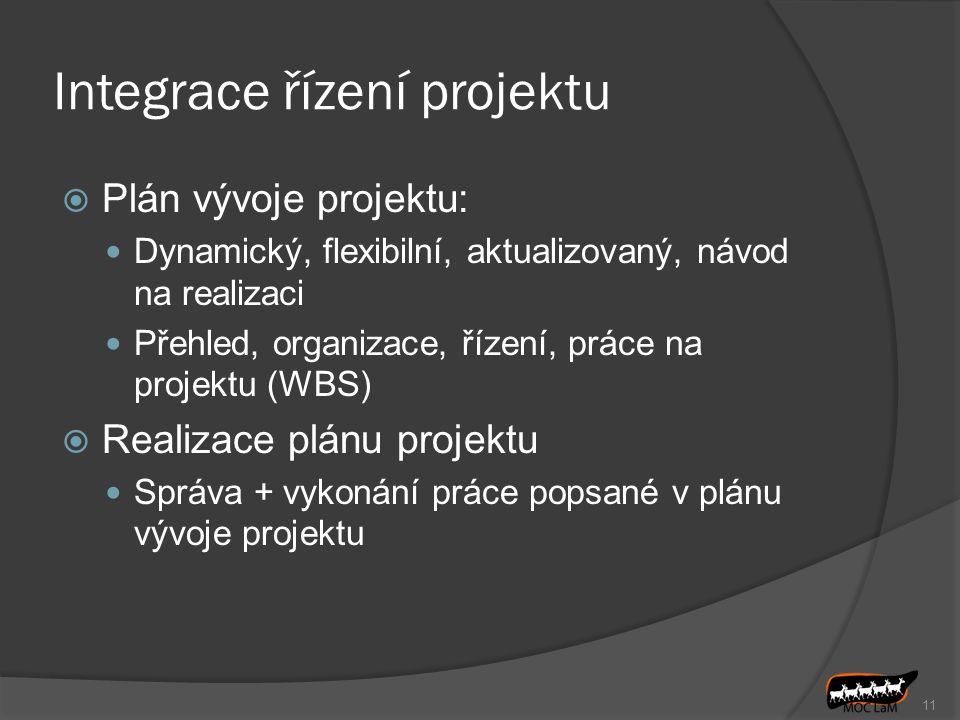 Integrace řízení projektu  Plán vývoje projektu: Dynamický, flexibilní, aktualizovaný, návod na realizaci Přehled, organizace, řízení, práce na proje