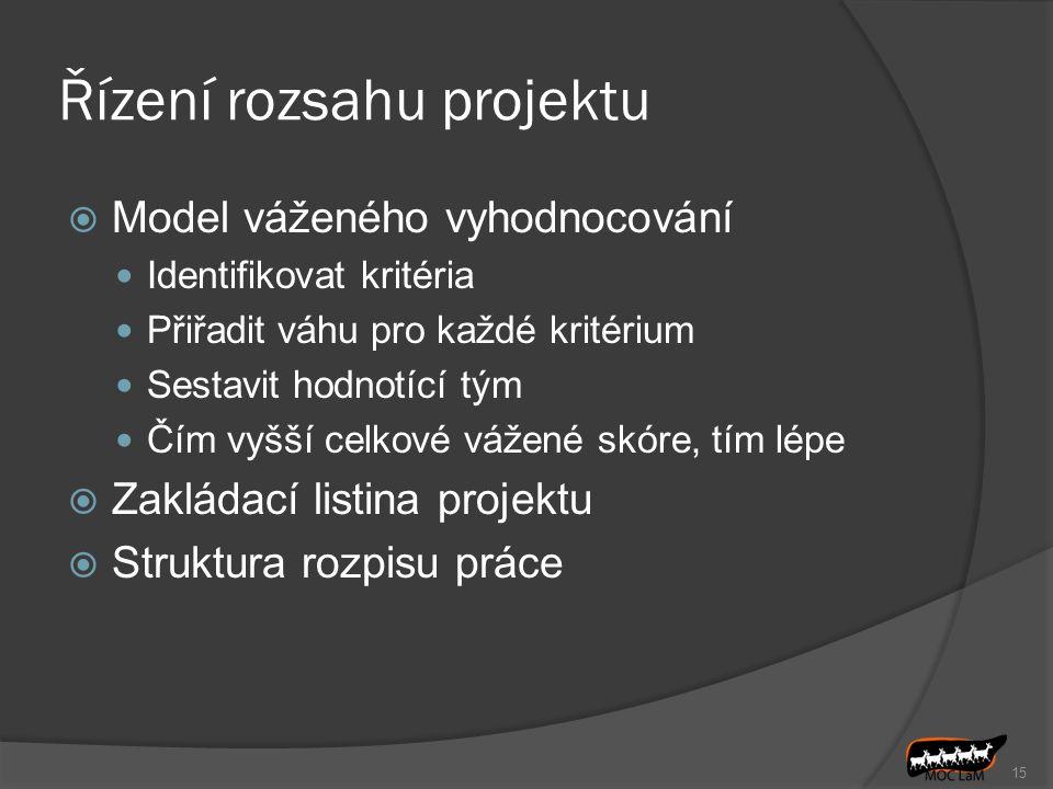 Řízení rozsahu projektu  Model váženého vyhodnocování Identifikovat kritéria Přiřadit váhu pro každé kritérium Sestavit hodnotící tým Čím vyšší celko