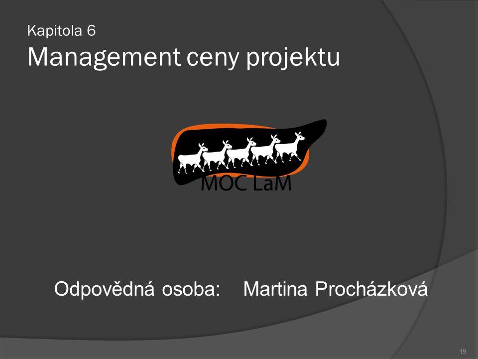Kapitola 6 Management ceny projektu Odpovědná osoba:Martina Procházková 19