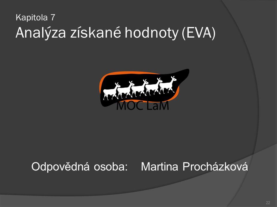 22 Odpovědná osoba:Martina Procházková Kapitola 7 Analýza získané hodnoty (EVA)