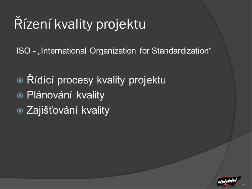 """25 Řízení kvality projektu ISO - """"International Organization for Standardization""""  Řídící procesy kvality projektu  Plánování kvality  Zajišťování"""