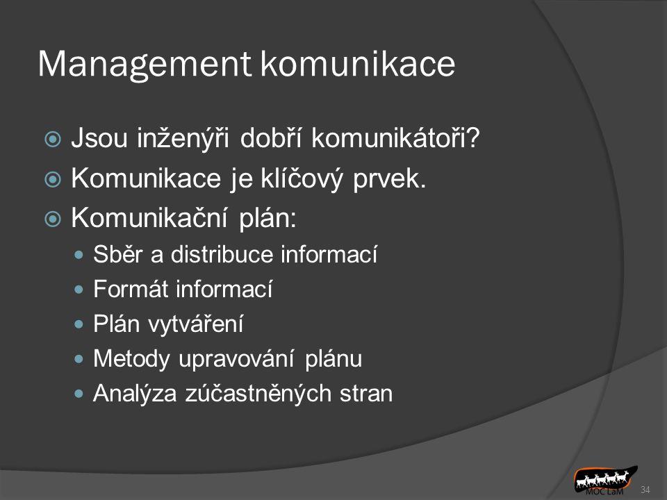 34 Management komunikace  Jsou inženýři dobří komunikátoři?  Komunikace je klíčový prvek.  Komunikační plán: Sběr a distribuce informací Formát inf