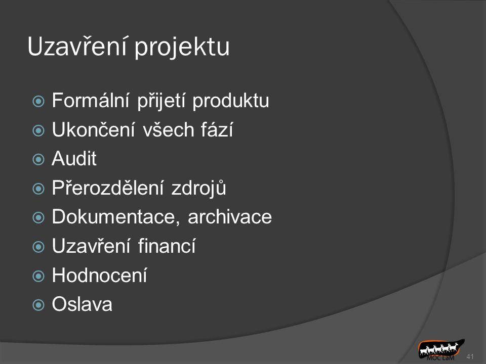 41 Uzavření projektu  Formální přijetí produktu  Ukončení všech fází  Audit  Přerozdělení zdrojů  Dokumentace, archivace  Uzavření financí  Hod