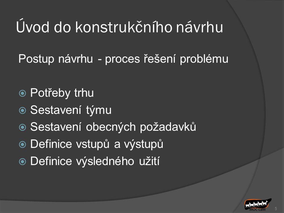 Úvod do konstrukčního návrhu Postup návrhu - proces řešení problému  Potřeby trhu  Sestavení týmu  Sestavení obecných požadavků  Definice vstupů a