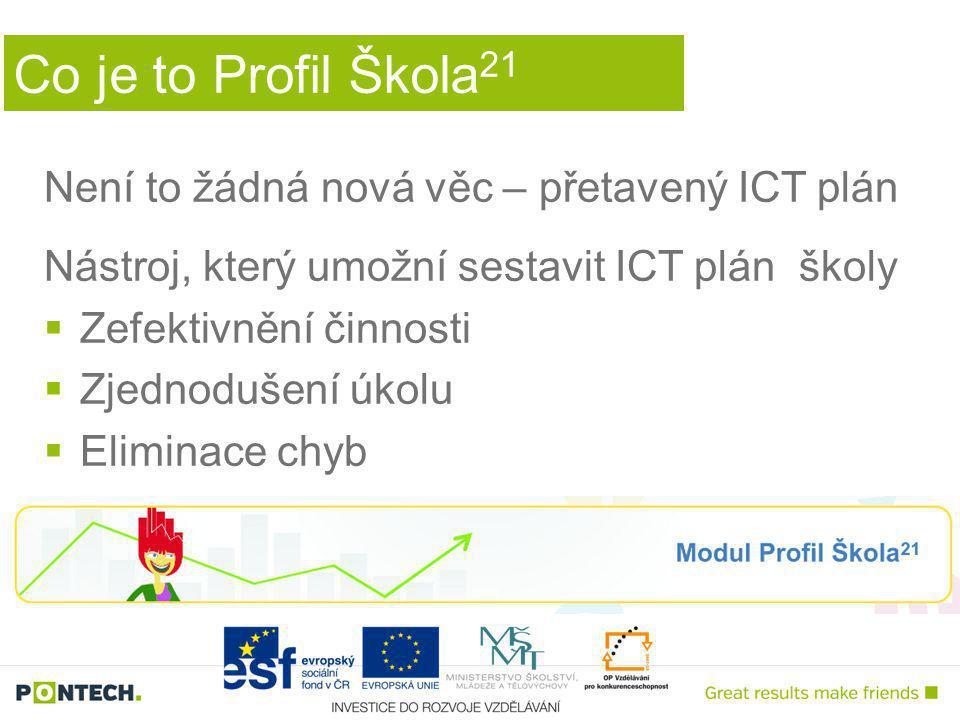 Co je to Profil Škola 21 Není to žádná nová věc – přetavený ICT plán Nástroj, který umožní sestavit ICT plán školy  Zefektivnění činnosti  Zjednodušení úkolu  Eliminace chyb