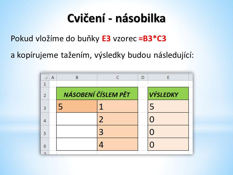 Cvičení - násobilka Pokud vložíme do buňky E3 vzorec =B3*C3 a kopírujeme tažením, výsledky budou následující: