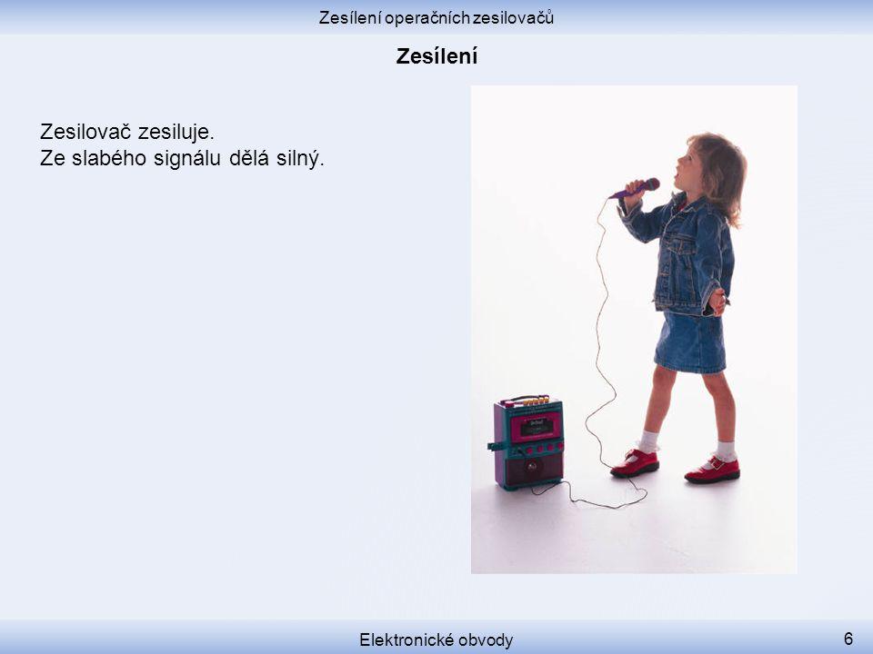Zesílení operačních zesilovačů Elektronické obvody 5 ElectronicBits #1: Ideal Operational Amplifier http://www.yourepeat.com/watch/?v=GqXlsUAKZig