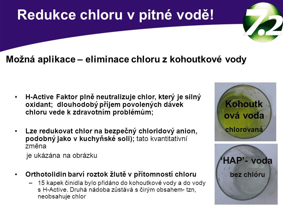 Redukce chloru v pitné vodě! H-Active Faktor plně neutralizuje chlor, který je silný oxidant; dlouhodobý příjem povolených dávek chloru vede k zdravot