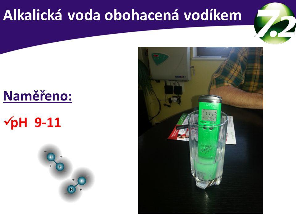 Alkalická voda obohacená vodíkem Naměřeno: pH 9-11