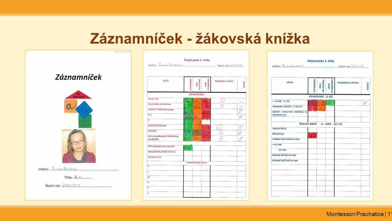 Montessori Prachatice | 11 Záznamníček - žákovská knížka