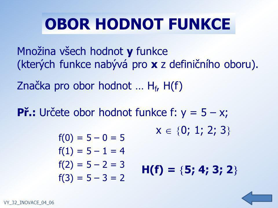Množina všech hodnot y funkce (kterých funkce nabývá pro x z definičního oboru). Značka pro obor hodnot … H f, H(f) VY_32_INOVACE_04_06 OBOR HODNOT FU