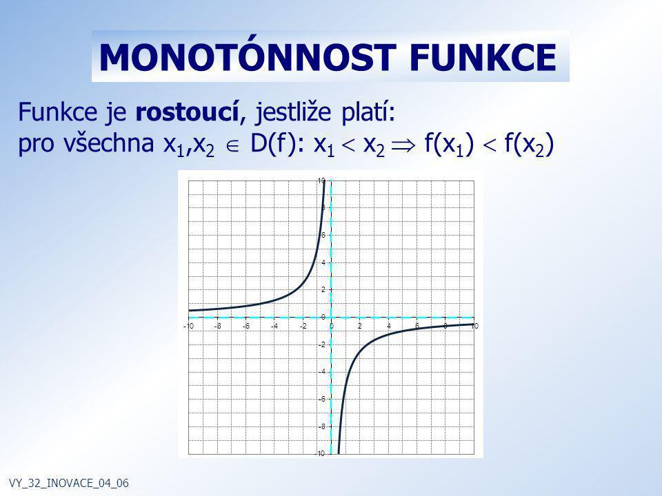 Funkce je rostoucí, jestliže platí: pro všechna x 1,x 2  D(f): x 1  x 2  f(x 1 )  f(x 2 ) VY_32_INOVACE_04_06 MONOTÓNNOST FUNKCE