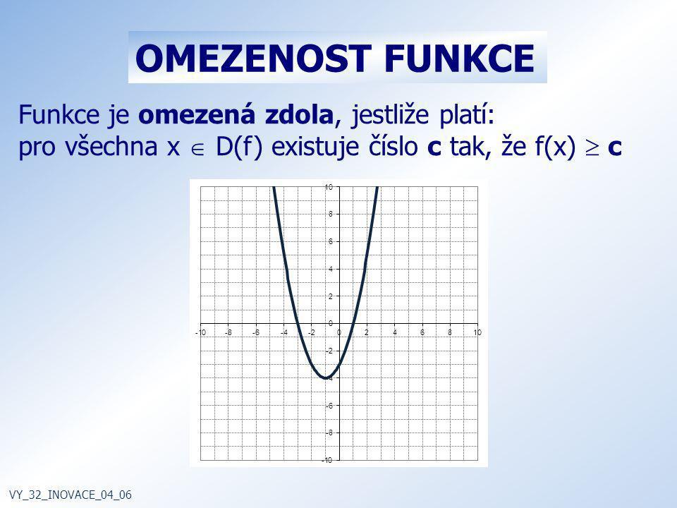 Funkce je omezená zdola, jestliže platí: pro všechna x  D(f) existuje číslo c tak, že f(x)  c VY_32_INOVACE_04_06 OMEZENOST FUNKCE