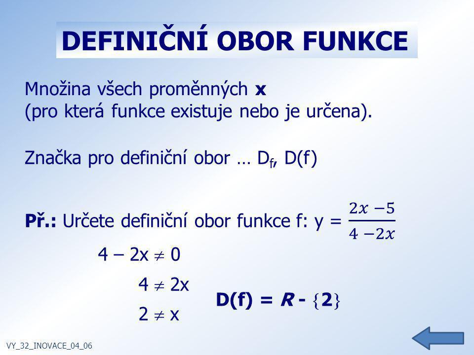 Množina všech proměnných x (pro která funkce existuje nebo je určena). Značka pro definiční obor … D f, D(f) VY_32_INOVACE_04_06 DEFINIČNÍ OBOR FUNKCE