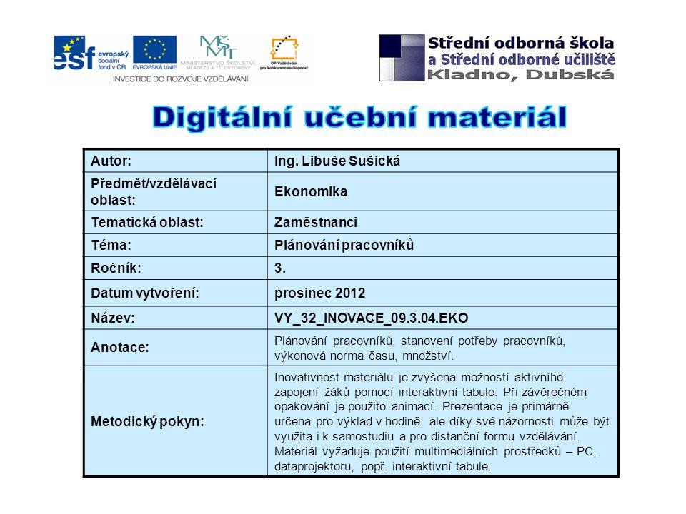 Autor:Ing. Libuše Sušická Předmět/vzdělávací oblast: Ekonomika Tematická oblast:Zaměstnanci Téma:Plánování pracovníků Ročník:3. Datum vytvoření:prosin