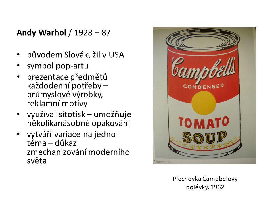 Andy Warhol / 1928 – 87 původem Slovák, žil v USA symbol pop-artu prezentace předmětů každodenní potřeby – průmyslové výrobky, reklamní motivy využíval sítotisk – umožňuje několikanásobné opakování vytváří variace na jedno téma – důkaz zmechanizování moderního světa Plechovka Campbelovy polévky, 1962