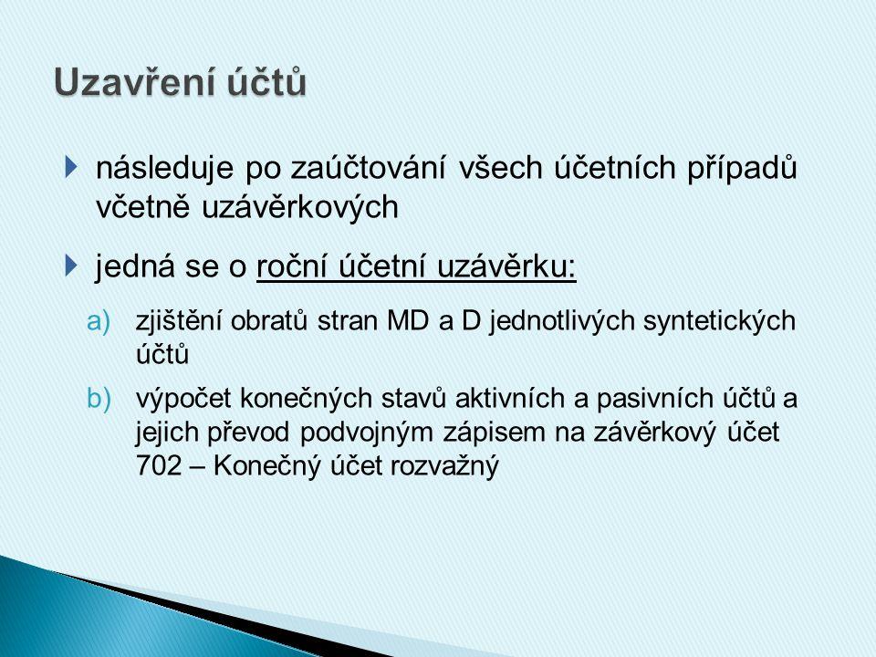  následuje po zaúčtování všech účetních případů včetně uzávěrkových  jedná se o roční účetní uzávěrku: a)zjištění obratů stran MD a D jednotlivých s