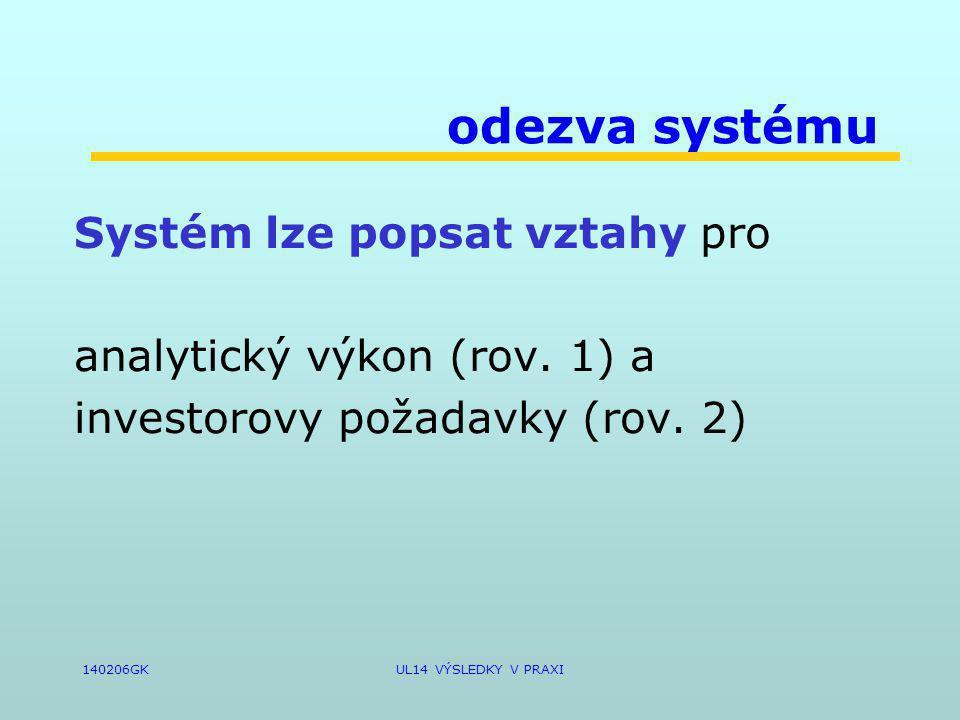 140206GKUL14 VÝSLEDKY V PRAXI odezva systému Systém lze popsat vztahy pro analytický výkon (rov.